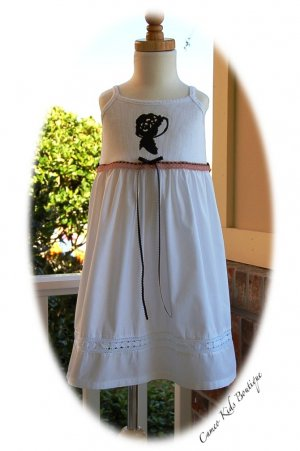 Baby Gap Altered White Tank Dress - Vintage Girl Silhouette - Lace and Ribbon
