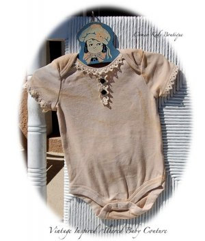 Tea Stain Vintage Victorian Inspired Altered Baby Onesie
