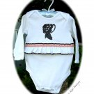 Lady Annabelle Altered Silhouette Baby Onesie - Vintage Inspired Altered Baby Couture