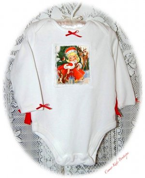 Christmas Carol - Vintage Inspired Altered Baby Onesie Couture