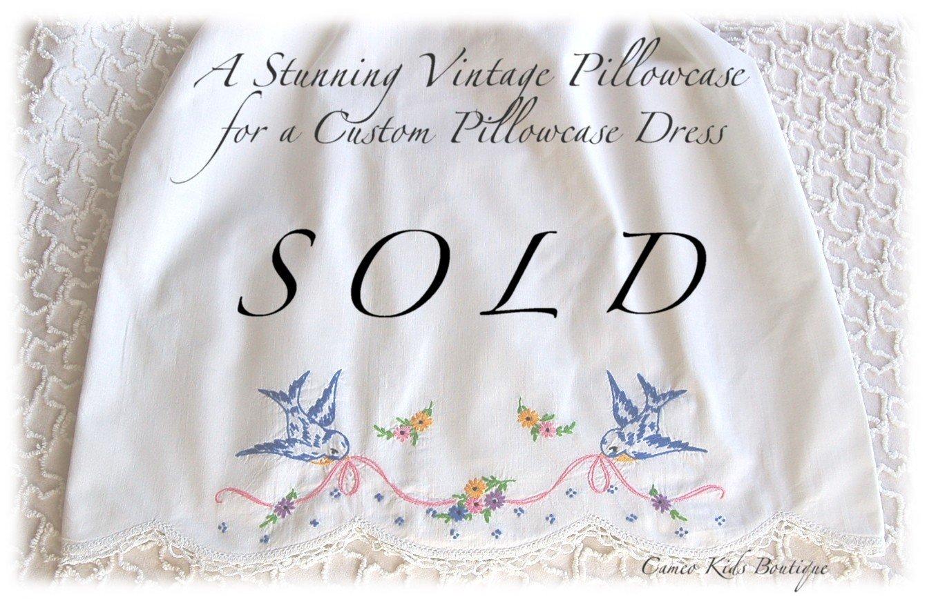 Kari - Beautiful Vintage Pillowcase Dress - Hand Embroidered - Unique Girls Dress