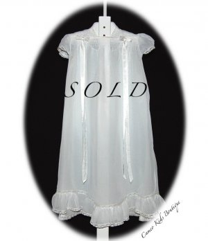 Beautiful Vintage Baby Christening Gown with Slip - 1940s