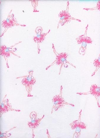 BALLERINAS ARE DANCING on WHITE COTTON RIB KNIT