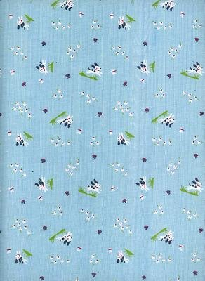 BABY DOGS with FLOWERS on BLUE COTTON RIB KNIT-CUTE