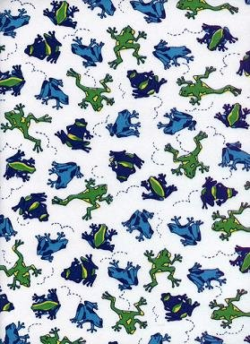 MULTICOLOR FROGS ON COTTON RIB KNIT-CUTE