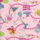 BIRTHDAY PARTY, FUN!! ON PINK COTTON RIB KNIT