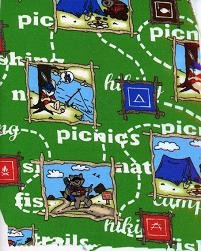 PICNIC, CAMPING, MAPS AND MORE ON GREEN JERSEY KNIT