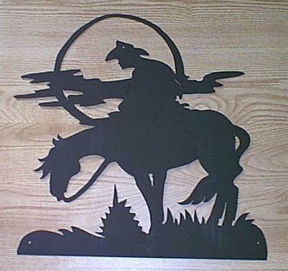 Cowboy Horse & Moonlight Western Metal Art