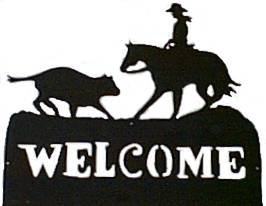 Cutting Horse Welcome Western Rodeo Metal Art