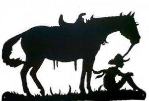 Cowboy & Horse Taking Break Western Metal Art