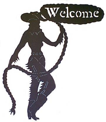 Sexy Cowgirl Welcome Sign Western Metal Art