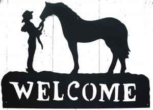 Cowgirl & Horse Western Welcome Sign Metal Art