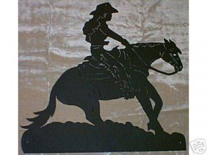 Reining Cowgirl Western Rodeo Horse Metal Art