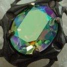 3pc Rare 12X10 Vintage Swarovski Crystal Peridot AB Rhinestones With Hand Oxidized Filigree Settings