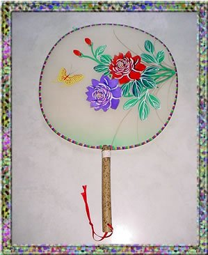 Vintage Oriental Hand Painted Silk Fan Bamboo Handle