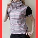 PAPAYA Plaid Cowl Neck Top with Puff Sleeves and Vintage Buttons - Large