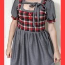 PAPAYA Cute Plaid Dress with Puff Sleeves, Ties and Vintage Buttons