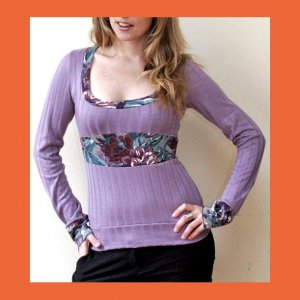PAPAYA Extra Long Sleeves Top with Waistband and Keyhole- Medium