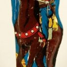 Vintage Tin Japanese Cowboy on Horse Whistle-blue