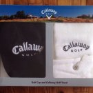 CALLAWAY Golf Black Cap / White Towel Gift Set In Box New