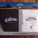 CALLAWAY Golf Black Cap / White Towel Gift Set In Box New