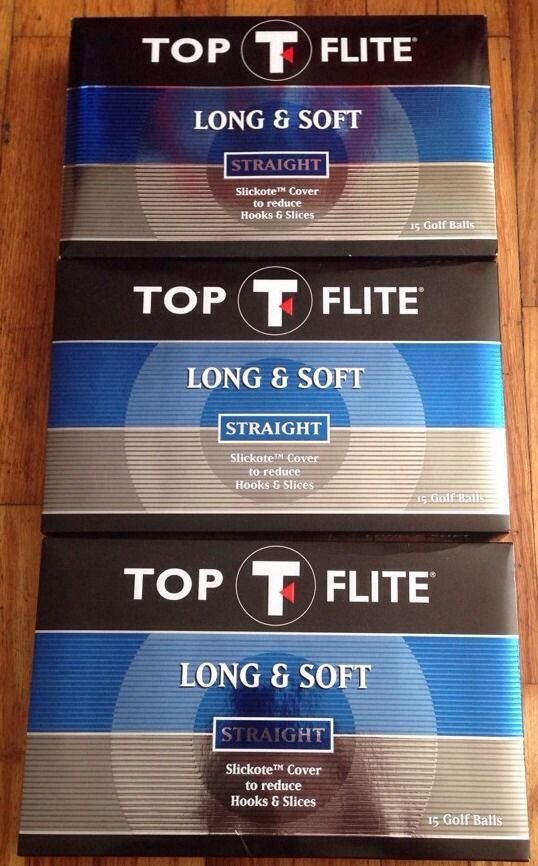 3 Boxes of Top Flite Long & Soft Straight Golf Balls 15 balls per box NEW Callaway FREE SHIPPING