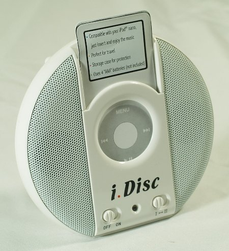 NEW -PORTABLE IDISC SPEAKERS FOR IPOD NANO,MP3