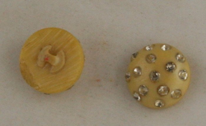 2 Celluloid/Rhinestone Paste Buttons-BUTTON VINTAGE 7/8 Inch
