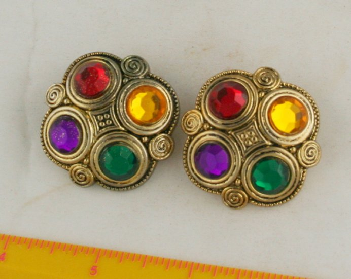 Fab Metallicized Plastic Cabuchon Button VINTAGE Pair 1-5/16 Inch