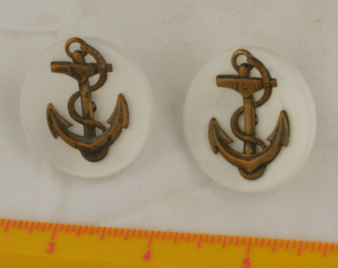 Brass Anchor Overlay  Plastic & Metal VINTAGE BUTTON 1-7/16 Inch