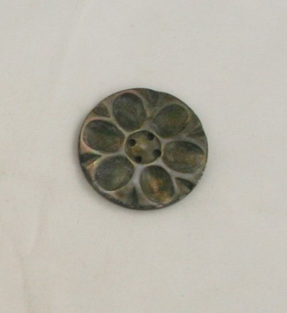 """Large Carved Floral"" Smoky Pearl Button VINTAGE BUTTON 1-1/4 Inch"