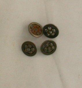 """Cut Steel"" Metal 4 Buttons VINTAGE BUTTON CUT STEEL *"