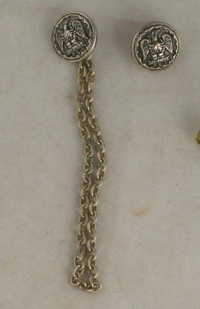 2 Steel/Chain Vest Buttons-VINTAGE BUTTONS-5/8 In