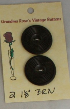 Card Buttons Grandma Rose's VINTAGE BUTTON Brown 1-1/8 In