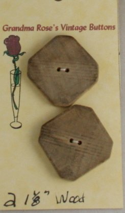Card Buttons Grandma Rose's VINTAGE BUTTON Wood 1-1/8 In