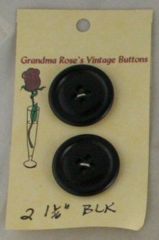 Card Buttons Grandma Rose's VINTAGE BUTTON Black 1-1/16 In