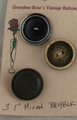 Card Buttons Grandma Rose's VINTAGE BUTTON Brown/Black 1 In
