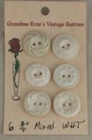6 White Styrene Housedress VINTAGE BUTTONS- 3/4 Inch