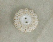 2 Gilded Milk Glass Buttons VINTAGE BUTTON 5/8 Inch