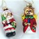1990s 2 Figural Teddy Bear Santa&Angel GLASS ORNAMENTS