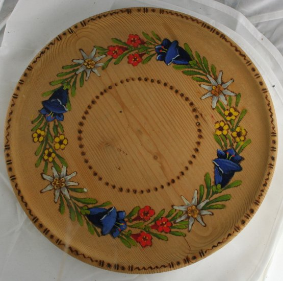 Hand Painted & Woodburned Wood Plate-Floral-Bluebells+