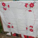Embroidered,Applique Tablecloth-Red/Black-VINTAGE- 44 Inch Square