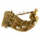 AJC Co. 3/4 Time Music Staff Goldtone Pin Brooch