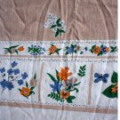 Vintage Printed Linen Tablecloth Spring Flowers Rectangular 54 x 74 Inches