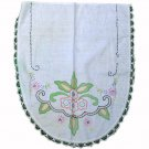 Vintage Embroidered,Crayon Colored Vanity Runner 17 x 19 Inches