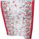 Vintage Screen Print Cotton Kitchen Towel Red Floral Border Print