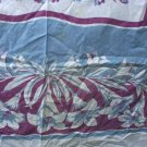 Vintage Printed Tablecloth Lavender/Grey Lily Floral Square 51 x 48 Inches