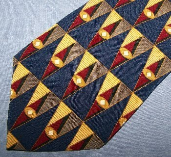 Bill Blass Black Label Silk Tie Necktie Triangles Blue Red Gold C125 ~