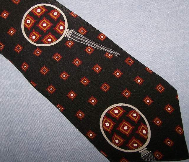 Vicky Davis Black Close-Up Silk Tie Necktie C25 ~