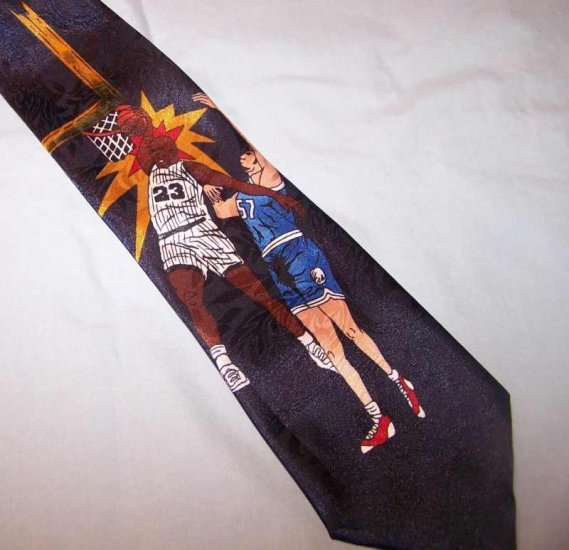 """Renaissance Navy Blue Basketball Theme Tie Necktie  63"""" C128 ~"""